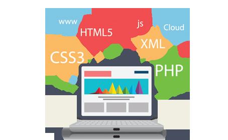 cartoon computer showing web language acronyms